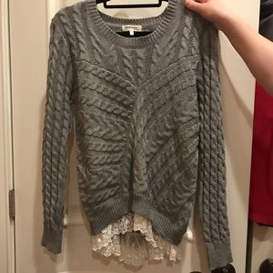 Sweater with lace edge